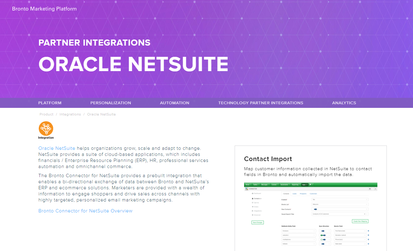 Bronto Connector for NetSuite
