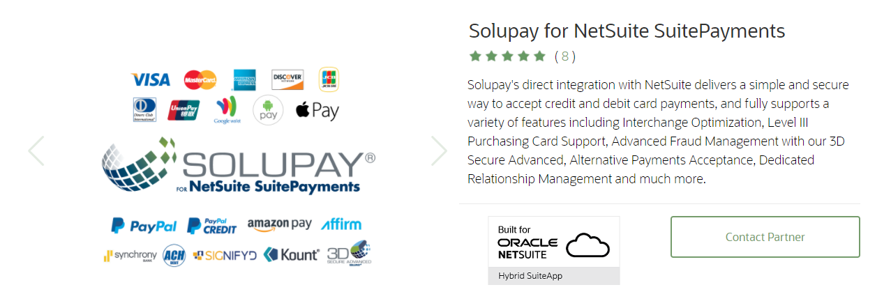 Solupay for NetSuite SuitePayments