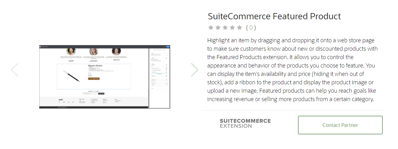 SuiteCommerce Featured Product