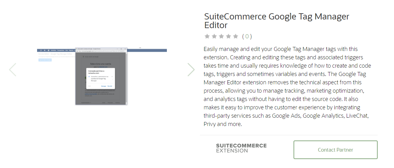 SuiteCommerce Google Tag Manager Editor