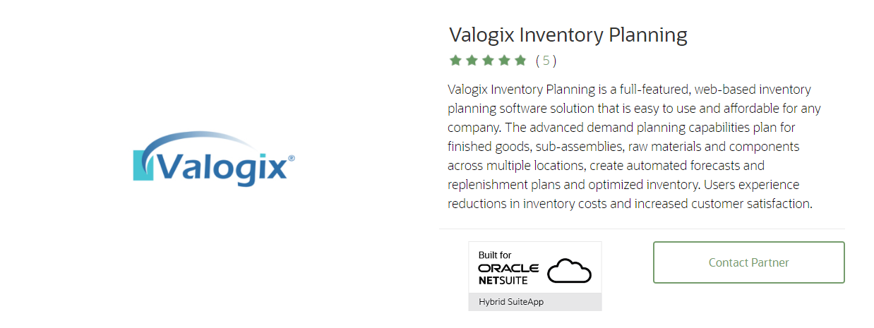 Valogix Inventory Planning: Best netsuite apps