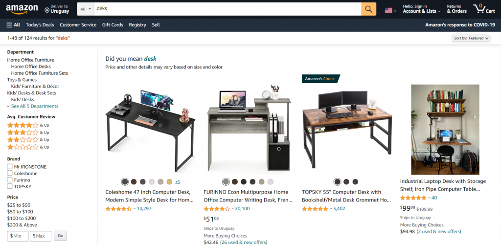 amazon - product recommendation examples - search page